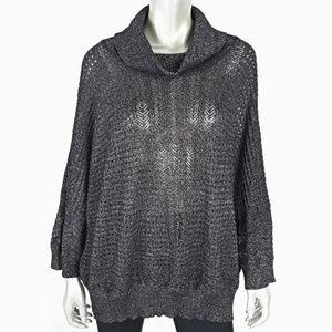 Plus Size 2X Black Metallic Cowl Neck Sweater